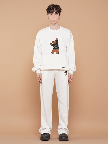 BEAR EMBROIDER PANTS [WHITE]