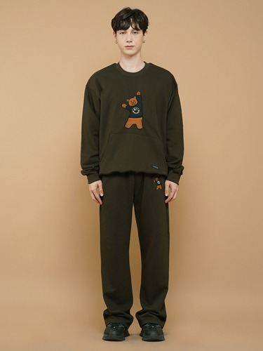BEAR EMBROIDER PANTS [KHAKI]