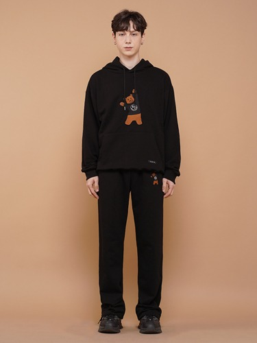 BEAR EMBROIDER PANTS [BLACK]