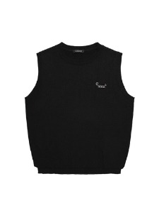 SMILE PIN KNIT VEST [BLACK]