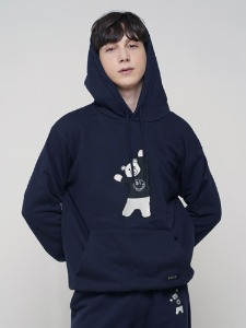 BEAR EMBROIDER HOODIE [NAVY]