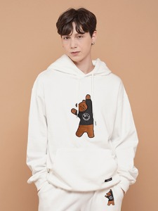BEAR EMBROIDER HOODIE [WHITE]